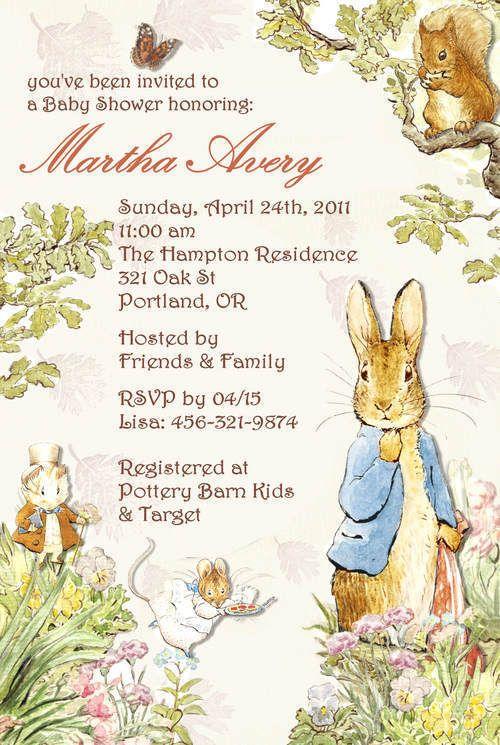 peter rabbit beatrix potter baby shower invitation