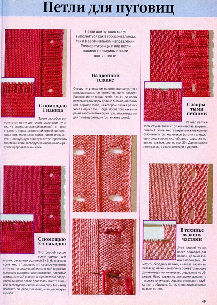Вязание дырок для пуговиц