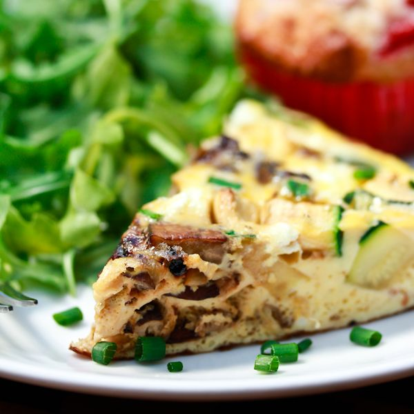 Mushroom and Goat Cheese Frittata | ASpicyPerspective.com #frittata ...