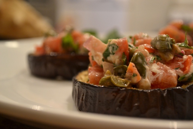 roasted eggplant with tomato, goat cheese, and mint. from 'a rented ...