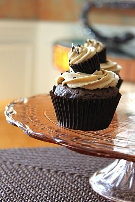Choclate cupcakes with peanut butter frosting