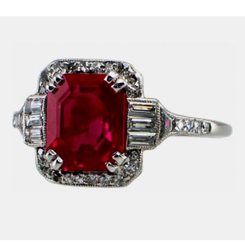 GIA 7 00 Carat Red Ruby Emerald Cut Diamond Halo Engagement Ring 18k