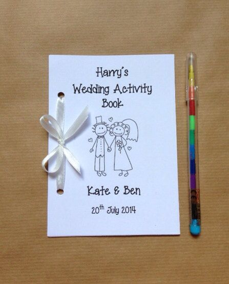 Personalised Childrens Wedding Activity Pack / Book - Cartoon couple - 12 Colours! on Etsy, $3.02