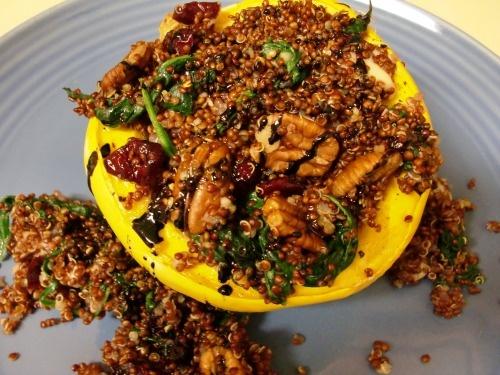 Acorn Squash with Cranberry, Spinach, Pecan and Mozzarella Quinoa ...