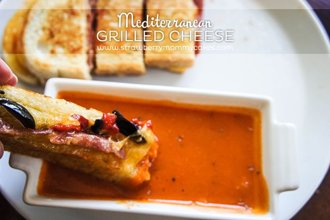 Mediterranean Grilled Cheese Sandwich with Roasted Pepper Tomato Soup