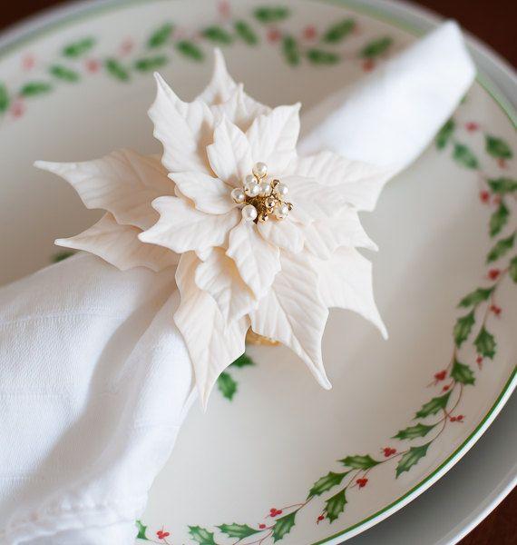 White And Gold Beaded Poinsettia Napkin Rings