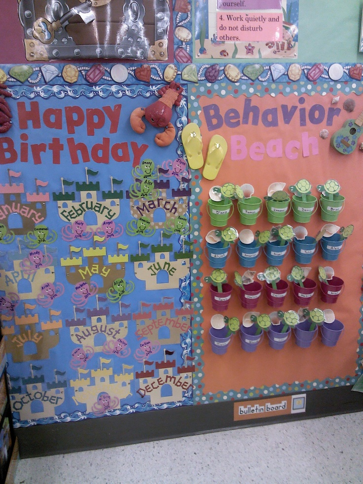 Behavior chart (each child has a pail and they change the color / character in their pail)