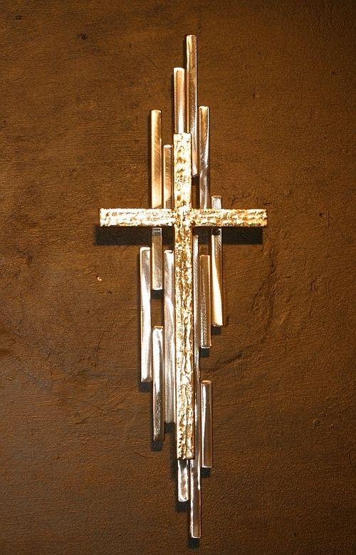 Gold Cross Wall Decor : Abstract metal cross sculpture wall art gold silver