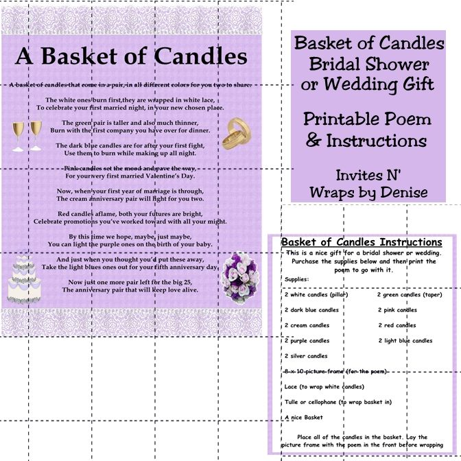 Wedding Shower Gift Basket Poem : wedding gifts
