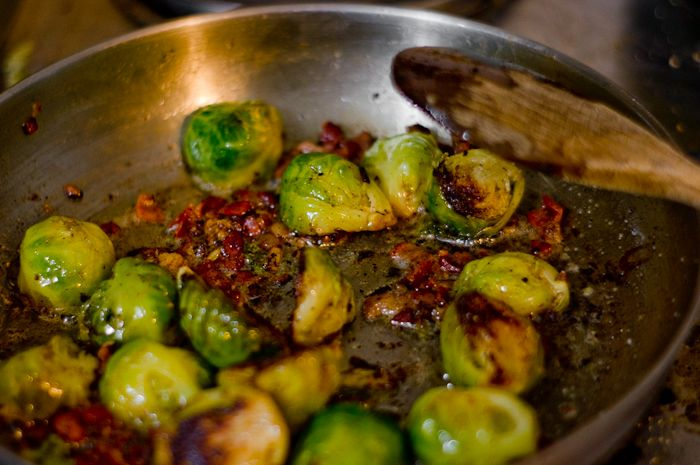 ... sweet and spicy brussels sprouts with tofu and shiitake mushrooms