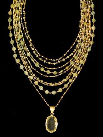 SAFIA Peridot & Citrine Necklace
