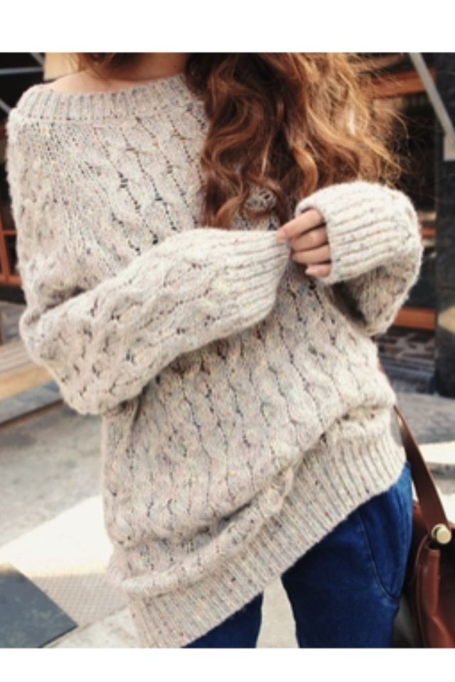 Off the shoulder chunky sweater. I want one for fall!