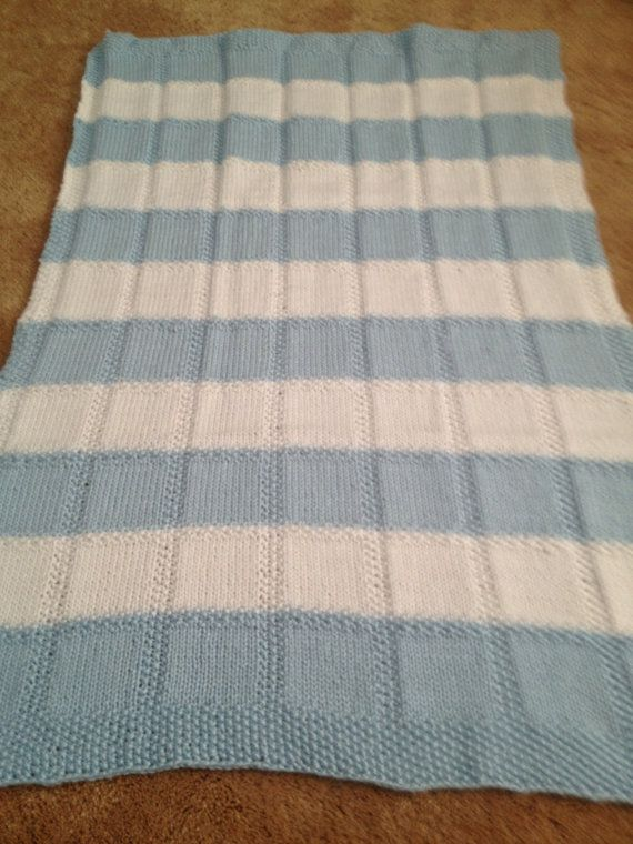 Hand Knit Baby Blanket in Stockinette & Seed Stitch Pattern