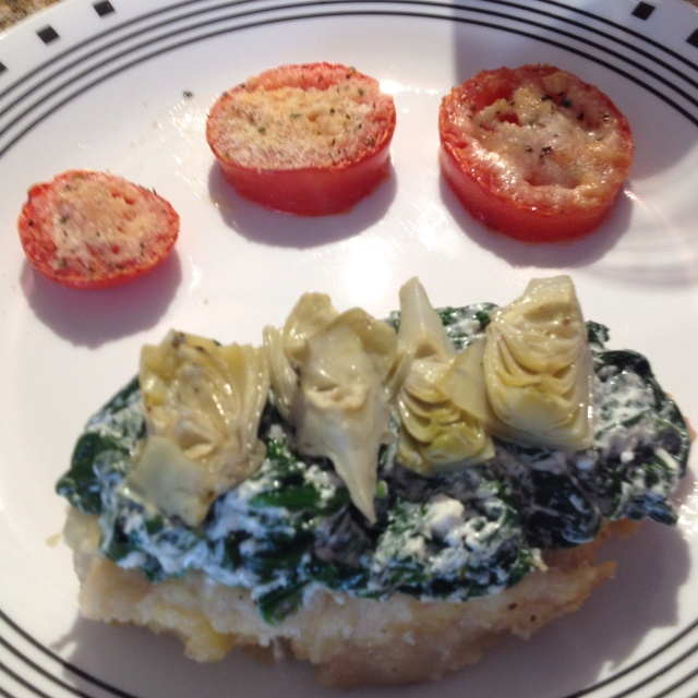 Chicken topped with wilted spinach, goat cheese, artichoke and baked ...