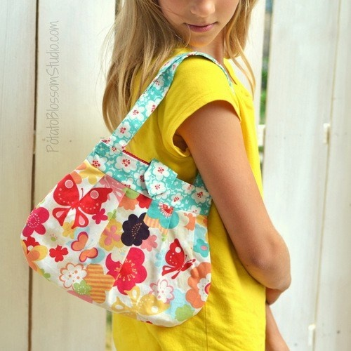 Pleated purse for child in Moda Just Wing it by KatrinaRobb - $20.00 - ArtFire Patron Discount offered
