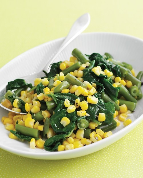 Sauteed Corn, Spinach, and Green Beans - Martha Stewart Recipes