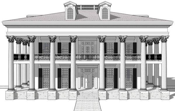 Greek Revival Plantation House Plan