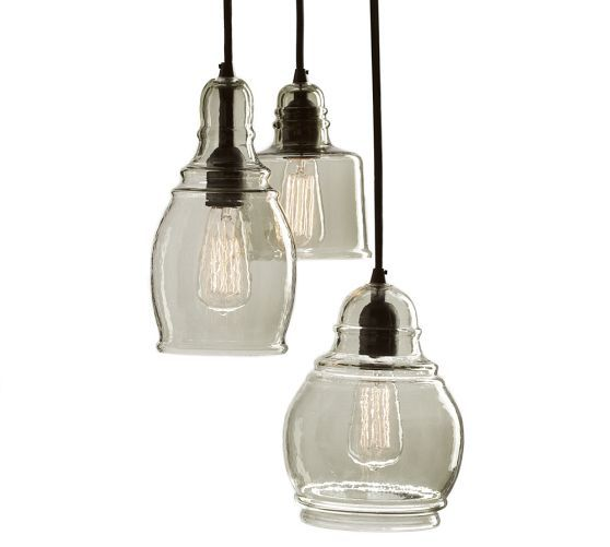 paxton glass 3 light pendant pottery barn. Black Bedroom Furniture Sets. Home Design Ideas