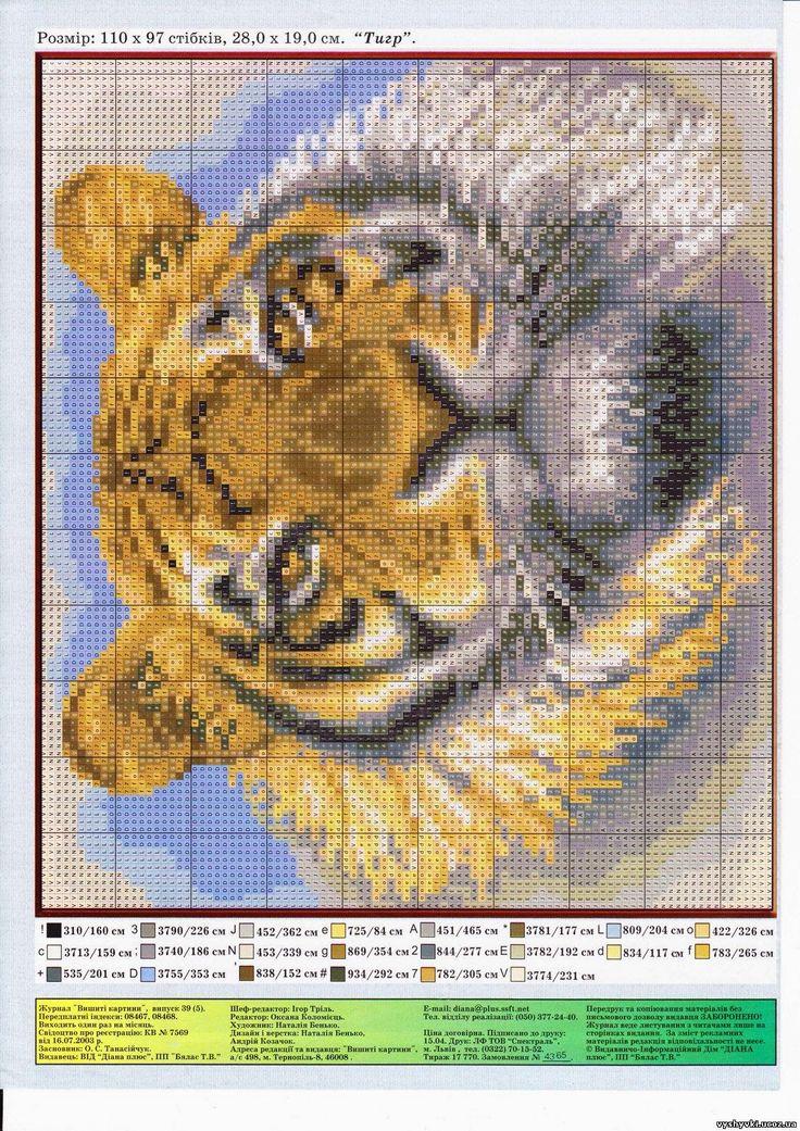 Схема для вышивки крестиком тигренок 40