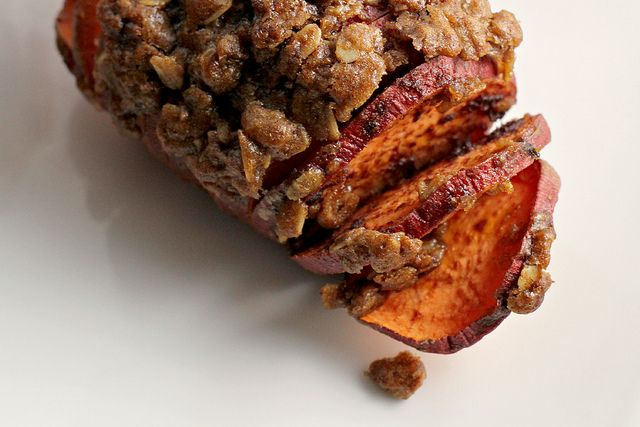 Hasselback Sweet Potato Crumbles Recipe #holidayveggies via www.joanne ...