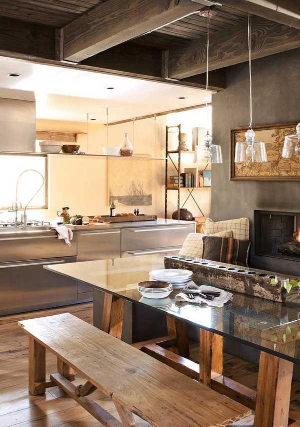 Brass, copper Rustic kitchen  Interior Design Kitchens  Pinterest