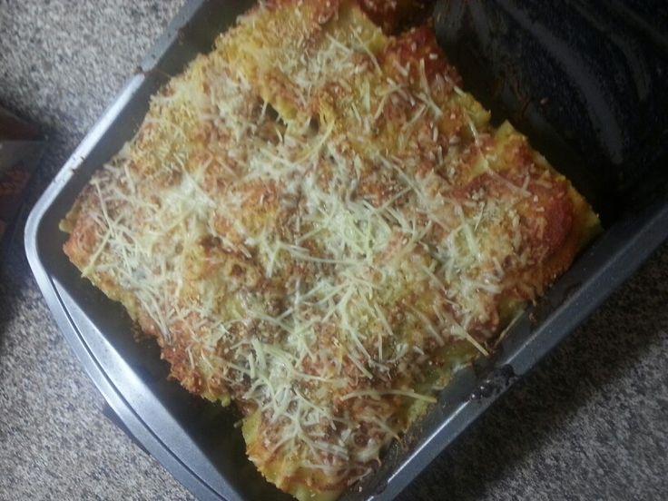 Ground turkey and Italian sausage lasagna rolls