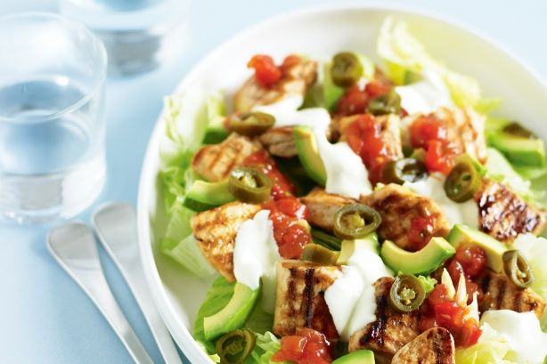 Chicken and avocado tostada salad | The glutton in me.. | Pinterest