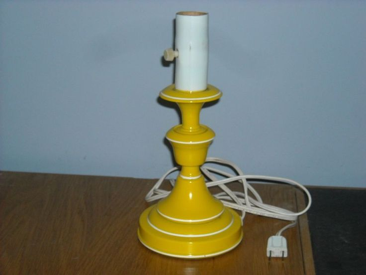 Vintage Retro Metal Yellow Small Table Lamp Portable