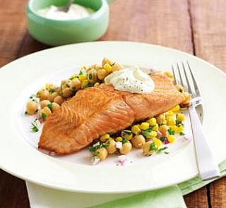 Pan-fried Salmon with Chickpea Salad | Healthy Food Recipes | Pintere ...
