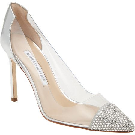 Shop now: Manolo Blahnik Pachacry Embellished PVC Pumps