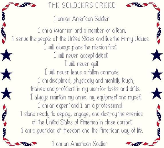 creed essay soldier For combat soldiers, its meaning is clear: when in doubt, shoot first  that we train  our soldiers to, in the words of the us army's soldier's creed,.