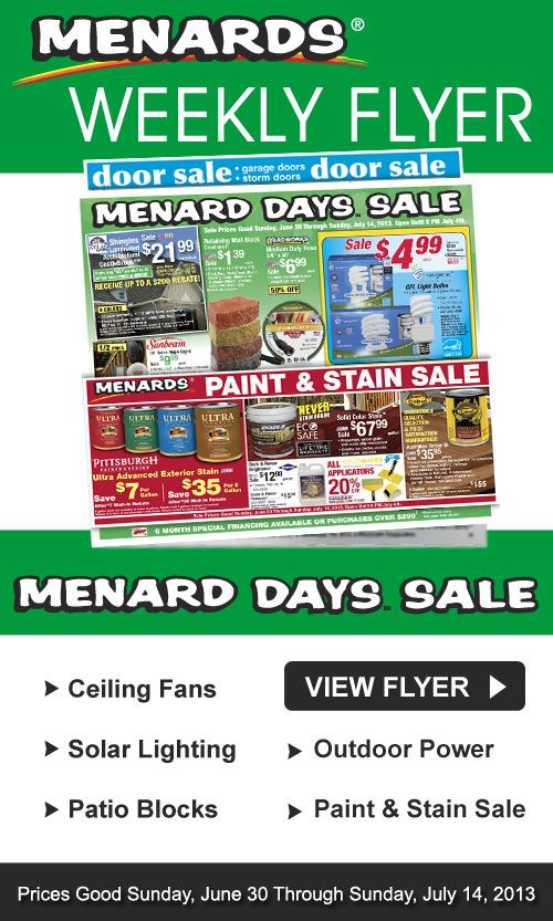 View the full Menards Weekly Ad for this week and the Menards Ad for next week! Use the left and right arrows to navigate through all of the pages of the Menards Weekly Flyer.