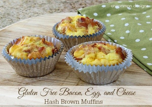 Gluten Free Bacon, Egg, and Cheese Hashbrown Muffins