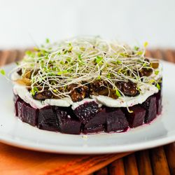 Roasted Beet Salad - Tossed with mustard vinaigrette, topped with goat ...