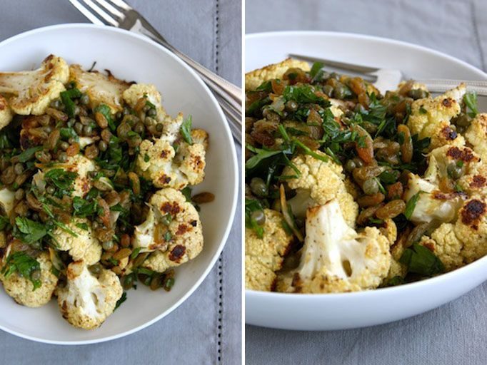 crispy cauliflower with capers and raisins - nuts would be good