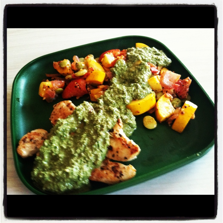 grilled chicken with sauteed summer squash, heirloom tomatoes, and ...