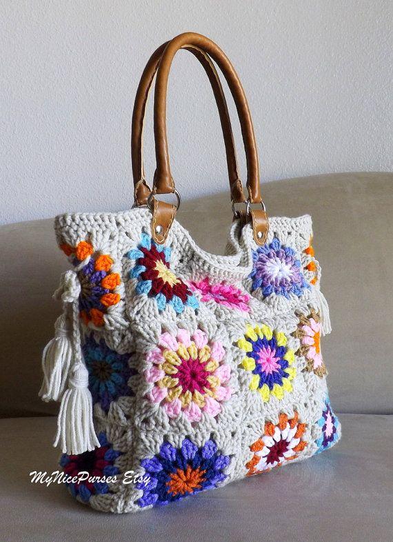 Crochet Granny Square Handbag : Crochet granny squares handbag with tassels and genuine leather handl ...