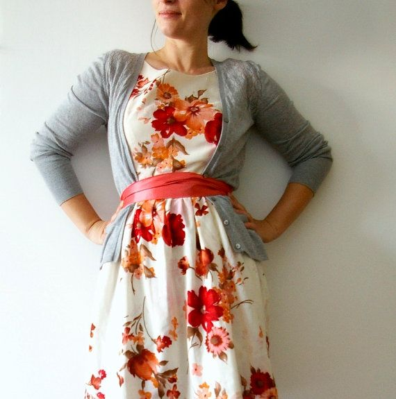 Vintage inspired tea dress  red magnoila dress by Mokkafiveoclock, $79.00