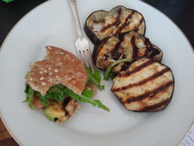 Avocado, tomato, arugula sandwich with a side of grilled eggplant! # ...