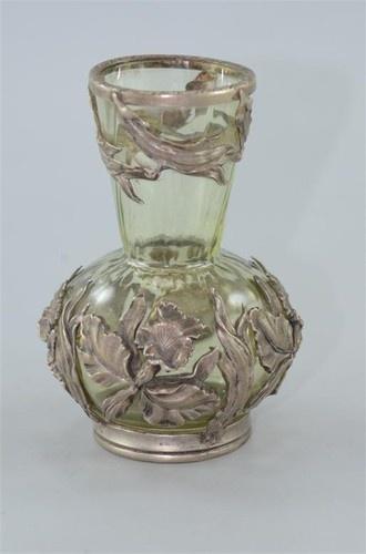 Античный Overlay серебром на открытой бутылки стекла с цветочным узором | eBay