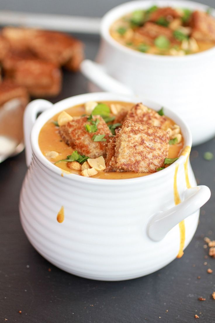 Thai sweet potato peanut soup with grilled peanut butter croutons ...