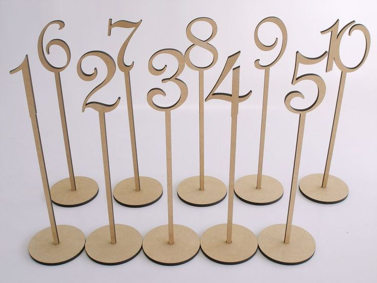 Mdf wooden shape table numbers stick set with base french for Table 52 number