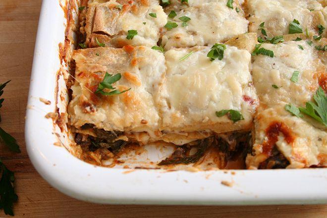 swiss chard mushroom sausage lasagna   The Main Dish   Pinterest