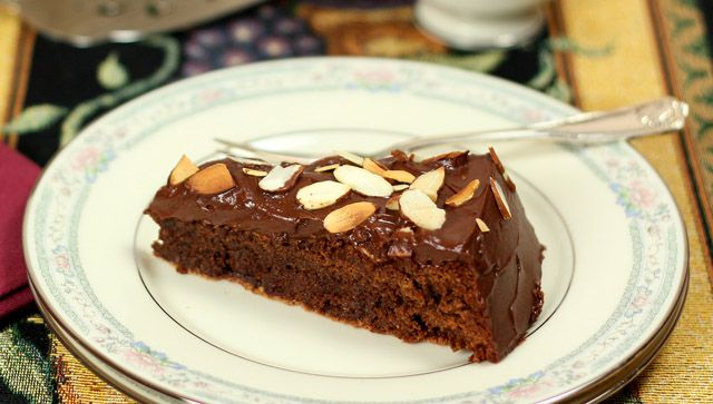 Decadent Chocolate Almond Cake with Sour Cream Icing from Downton ...