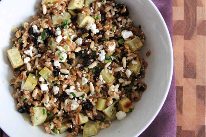 "Farro risotto with sweet potatoes and feta - adapted from ""Weeknights ..."