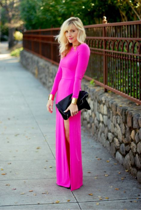 bright pink long dress.