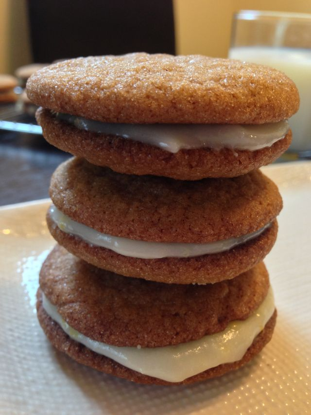 Ginger-spice sandwich cookies with lemon cream cheese filling...