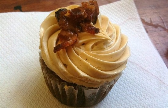 ... banana cake with peanut buttercream and candied bacon. Incredible
