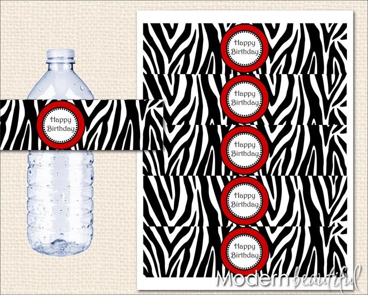 ... labels   Zebra Water Bottle Labels Red Printable Zebra Happy Birthday