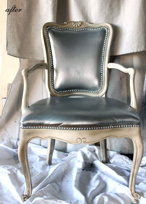 old leather an amazing new look with wait for it silver spray. Black Bedroom Furniture Sets. Home Design Ideas